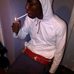"""Blow It In The Air: @RunDownRay Lighting-Up In A $665 Gold """"H"""" Buckle/Red Strap Hermes Belt"""
