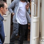 Styling On Them Lames: Kanye West Rocking A Pair Of $1,230 Ann Demeulemeester Sneakers, Grey Hoodie & Leather Pants