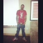 """Styling On Them Lames: Meek Mill In A $325 YSL Tee-Shirt, Belt & Nike Lebron 9 """"Ohio State"""" Sneakers"""