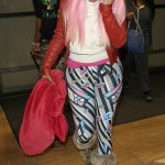 Spotted At LAX: Nicki Minaj Leaving The Airport In leggings & A Pink Wig