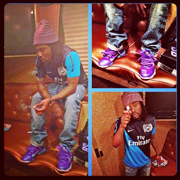 "df6665cf7c05 Rapper Wale recently instagramed a picture of him wearing a pair of Nike  LeBron 9 ""Summit Lake Hornets"" sneakers."