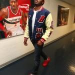 Styling On Them Lames: John Wall In A $900 Billionaire Boys Club EVA Varsity Jacket & Kanye West x Louis Vuitton Sneakers