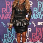 Did It On Em: Lil Kim In A Black Leather Dress & Turquoise Heels At BET's 'Rip The Runway'