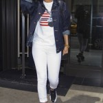 My Chick Is Bad: Rihanna Rocking Air Jordan XII 'Playoffs', Denim Jacket & Tee-Shirt