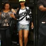 Taking It Back To The 90's Fashion: Rihanna Wearing A Joyrich Rich Jersey, Adidas Jacket, Jumper & Air Jordan XII 'Playoffs'