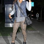 Spotted In Hollywood: Meagan Good Wearing Jeffrey Campbell Damsel Spiked Heels, Leopard Leggings & A Denim Vest