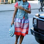 A Bright Day In Manhattan: Solange Wearing A Colorful Neon Stripe Skirt & Brown Lace-Up Sandals