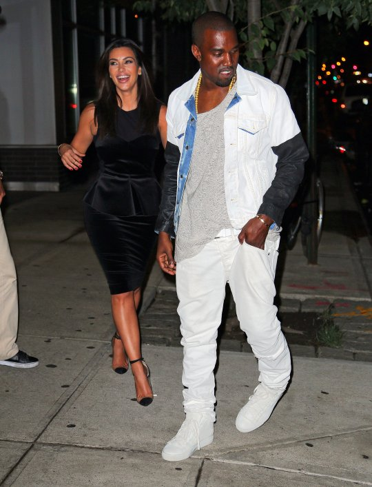b60fa563c41d Kanye West and his girlfriend Kim Kardashian are back in NYC. The adorable  couple was spotted leaving Book Of Mormon play on Broadway.