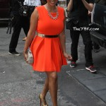"""Lala Anthony In A $180.50 Floyd Dress """"Red Orange"""" Paired With $1,995.00 Lady Daf 160 MM Christian Louboutin"""