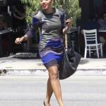 Angela Simmons Styling In A Nuvula Dress, Prada Pumps & Carries A $4,050 Bottega Veneta Bag