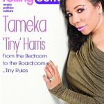 Tameka 'Tiny' Harris Covers Rolling Out Magazine In A Gold Floor Length Gown