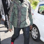 "Kanye West Rocking A Supreme Green Tree Camo Field Pullover Jacket & Air Jordan 1 ""Bred"""