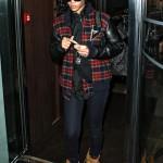 Rihanna Styling In A $200 Joyrich Freshman Plaid Varsity Jacket & Timberland Boots