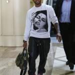 "Usher Wearing $1,299 En Noir Leather Pants & Air Jordan Spiz'ike ""Gym Red"""