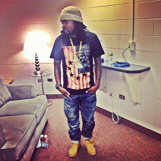 D.C. s own Wale was spotted backstage at an event in Philly. The Maybach  Music Group rapper styled in a Givenchy Black Embossed USA Flag Tee-Shirt  and blue ... ba027bbba513
