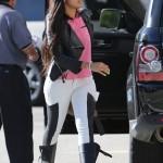 "Angela Simmons Wears $253 Rag & Bone ""The Grand Prix Leather Paneled Twill Leggings-Style Jeans"""
