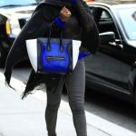 Rapper & Actress Eve Carries A $3,000 Celine Cobalt Blue Snakeskin Luggage Tote Bag