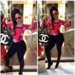 Keyshia Ka'oir Wears Christian Louboutin Thigh High Lace Up Boots & Carries A Chanel Bag