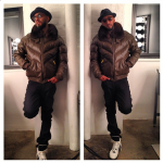 What Is He Wearing? Swizz Beatz Styles In A Double Goose Leather Quilted V Bomber Jacket & $685 Givenchy Studded Strap High Top