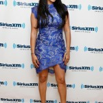 Lala Anthony Goes Royal Blue In A Lover Sara Lace Dress & Manolo Blahnik Suede BB Pumps For NYC Promo Rounds