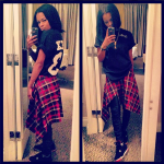"Teyana Taylor In A $100 Pyrex Basic Tee-Shirt & Air Jordan IV ""Bred"""