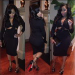 Toya Wright Accessorizes Her Outfit With $1,395 Christian Louboutin Divinoche Sandals & A Yves Saint Laurent Clutch