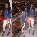 Toya Wright Shines Bright In $788 Yves Saint Laurent Tribute Sandals With The Matching $795 YSL Belle du Jour Clutch Bag