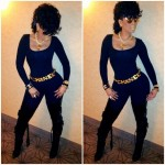 Keyshia Ka'oir Accessorizes Her Jumpsuit With A Chanel Belt, Necklace & Earrings; And Christian Louboutin Boots