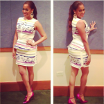 Lala Anthony Invades Puerto Rico In $815 Manolo Blahnik Storm Metallic Ankle-Strap Pumps And A Camilla & Marc Dress