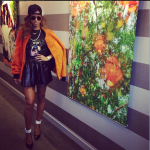 Riri Spotted In NYC Wearing A 3.1 Phillip Lim Orange Shearling Bomber Jacket, Givenchy Tee & Saint Laurent Paris Pumps