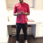 Tristan Thompson Rocks A Red Leather 'Concealed' Top, Leather Sweatpants & Giuseppe Zanotti Homme Mirror Sneakers