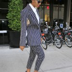 Solange Knowles Looks Gorgeous In A Pin Striped Suit Paired With $1,150 Miu Miu Satin Jeweled Heel Platform Sandals
