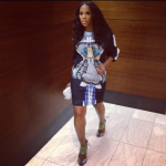 Celebrity Stylist June Ambrose Gets Fly In A Clover Canyon Dress & $1,058 Brian Atwood Uma Sandals