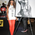 Kelly Rowland In A Forever 21 Graphic Tank Paired With Red Leather Pants & Pumps
