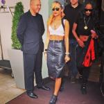 Rihanna Wears A $2,250 Gareth Pugh Black Silk Suspender Skirt & $545 Balenciaga Arena High Trainers