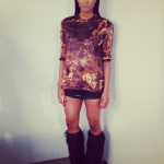 Ciara Is Back To Black; Plus She Wears A $700 Balmain Printed Top In Gold/Black & Cesare Paciotti Boots