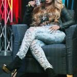 K. Michelle's $950 Prada Suede & Metallic Leather Platform Ankle Boots