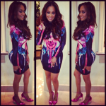 Lala Anthony Attend 'Baggage Claim' Press Day 3 In A $370 Nicholas Melted Floral Scuba Dress