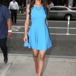 Michelle Williams Wears Some Hot Pink Yves Saint Laurent Pumps & A Turquoise Dress In NYC