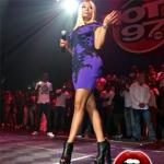 Nicki Minaj Performs In A $988 Alexander McQueen Spine Lace Jacquard Bodycon Dress & $1,350 Giuseppe Zanotti Open-Toe Ankle Booties