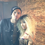 Nicki Minaj Spotted On The Set Of Chris Brown's Video In A Versace Studded Medusa Bustier & Ankle Strap Pumps