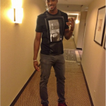 Tristan Thompson Wears A $595 Givenchy Black Two Romans Tee-Shirt & Red Balenciaga Sneakers
