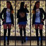 Lala Anthony Wears A $1,785 Pierre Balmain Leather Biker Jacket & $2,025 Giuseppe Zanotti Cutout Leather Knee-High Boots