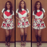 Lala Anthony In A $118 MSGM Heart Print Tee-Shirt, $463 MSGM Floral Skirt & $3,690 Tom Ford Boots
