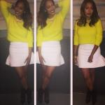 Lala Anthony's $625 Veronique Branquinho Lemon Yellow Angora Sweater