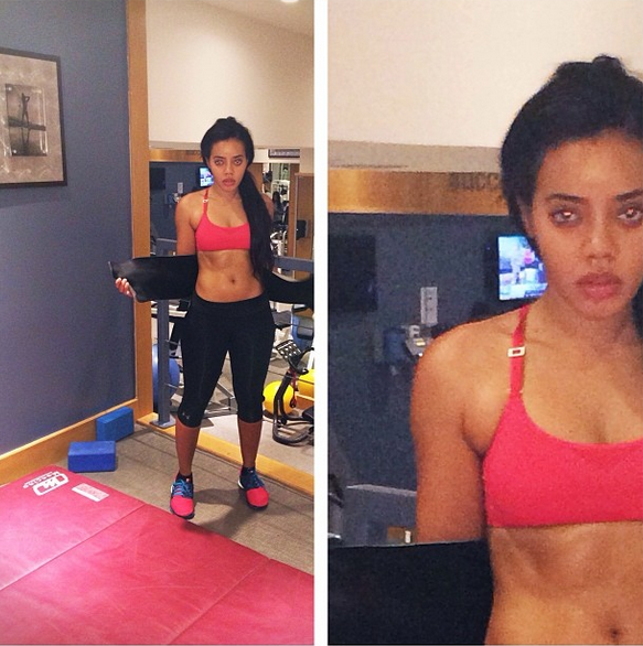 Angela Simmons sculpts her hourglass figure hiking in