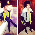 Cold Winter: Keyshia Cole Wears A $998 Rebecca Minkoff 'Venus' Genuine Shearling Collar Jacket