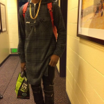Kanye West/Michael Jackson-Inspired Outfit: Nick Young In $949 Saint Laurent Leather & Denim Biker Jeans