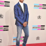 Trevor Jackson Attends The AMAs In A $2,490 DSquarded2 Blue Paisley Silk Tie Napoli Jacket