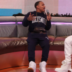 Bow Wow Wears A $79 Rocksmith Freetown Pullover & $75 Freetown Slim Sweats With Ewing 33 Hi 'White/Gum' Sneakers